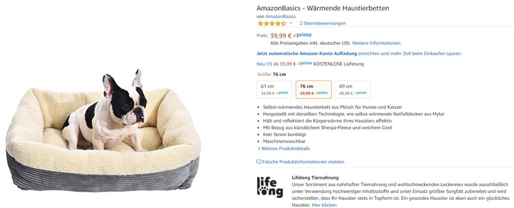 Hundebett von Amazon Basics