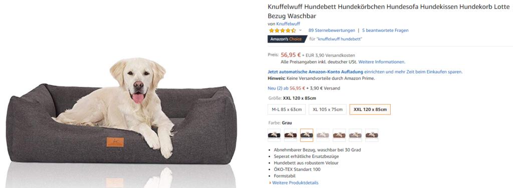 Hundebett von Knuffelwuff